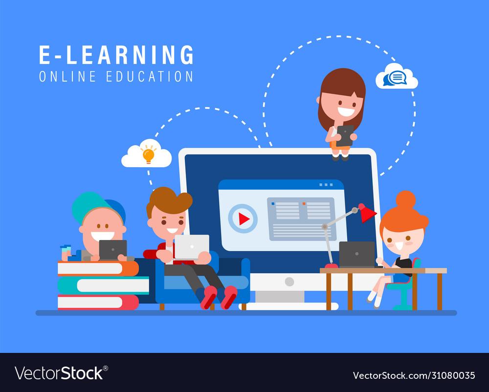 E-learning online education concept kids