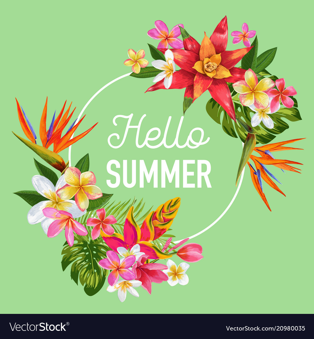 Hello summer design tropical hibiscus flowers