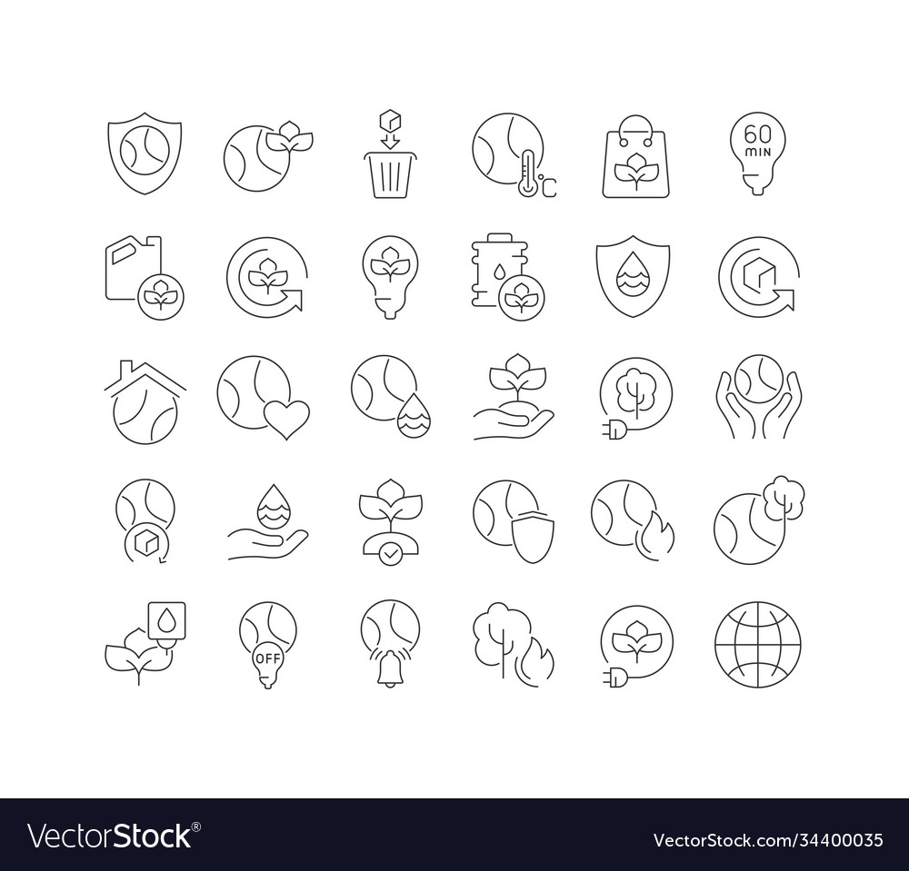 Line icons earth day