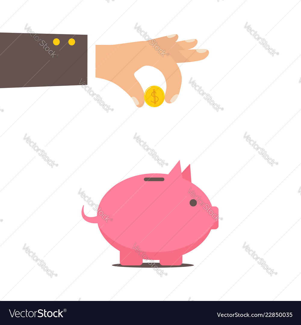 Piggy bank and hand with coin color