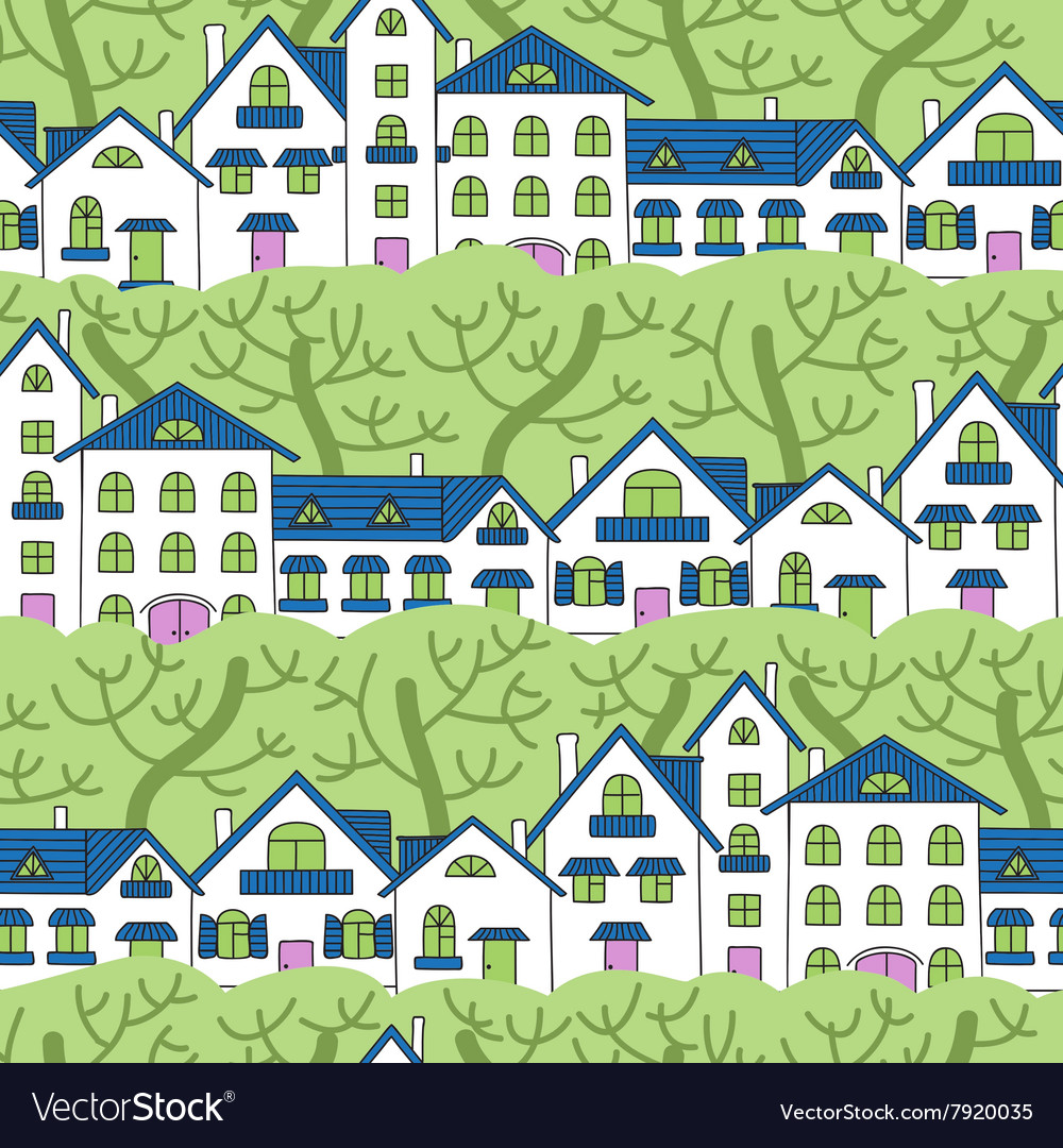 Seamless pattern of white houses and green trees