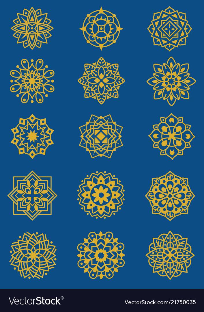 Set of mandala pattern flourish floral theme
