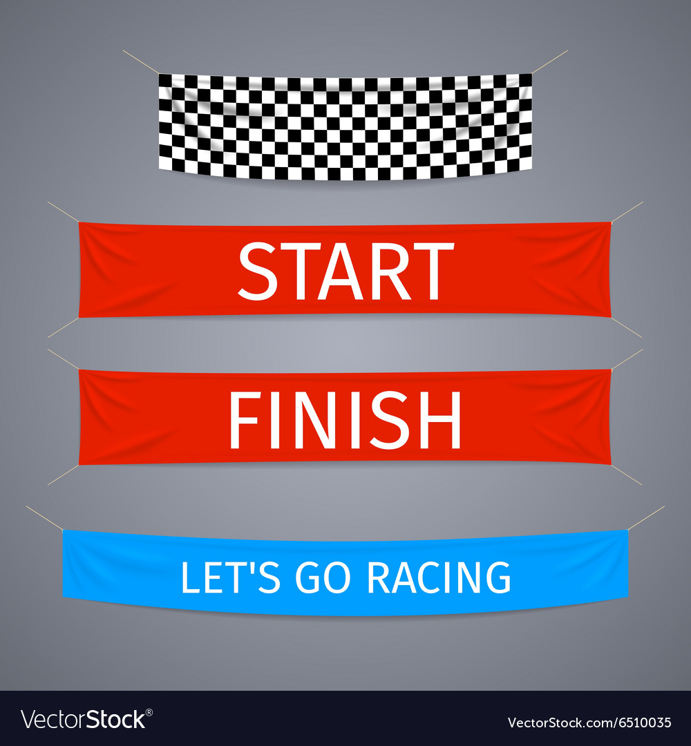 Start and finish textile banners set