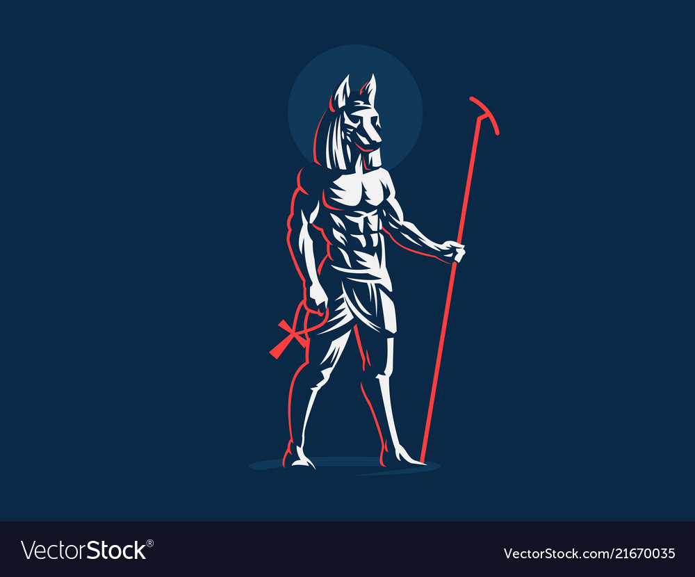 The Egyptian God Anubis Emblem Royalty Free Vector Image