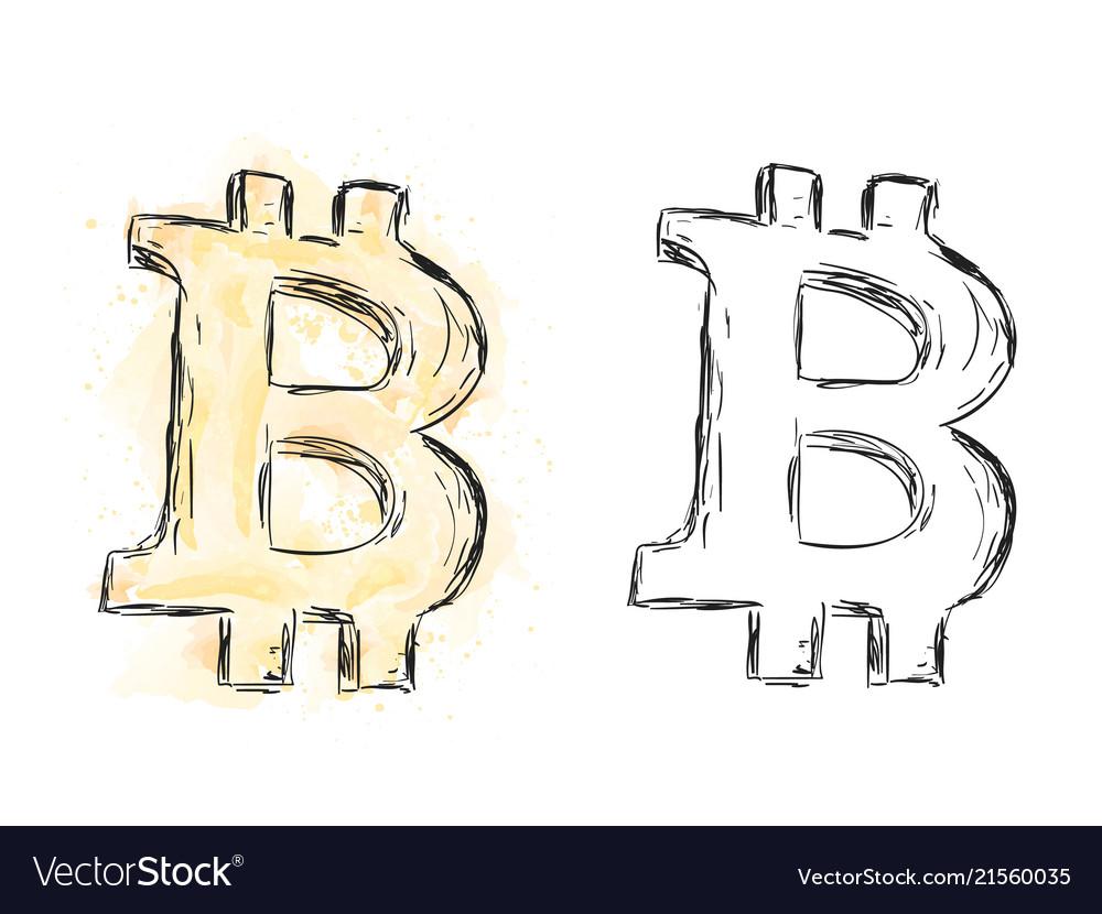 Watercolor bitcoin drawing