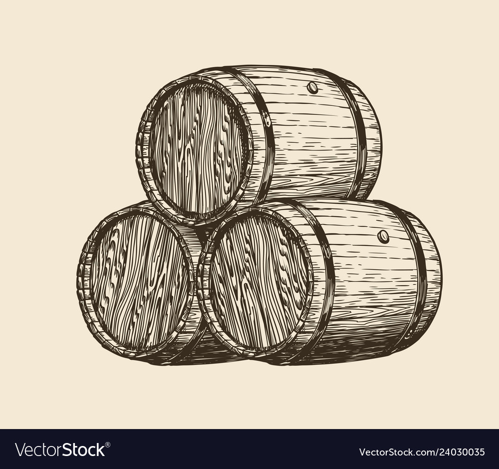 Wine cellar winery wooden barrels with wine