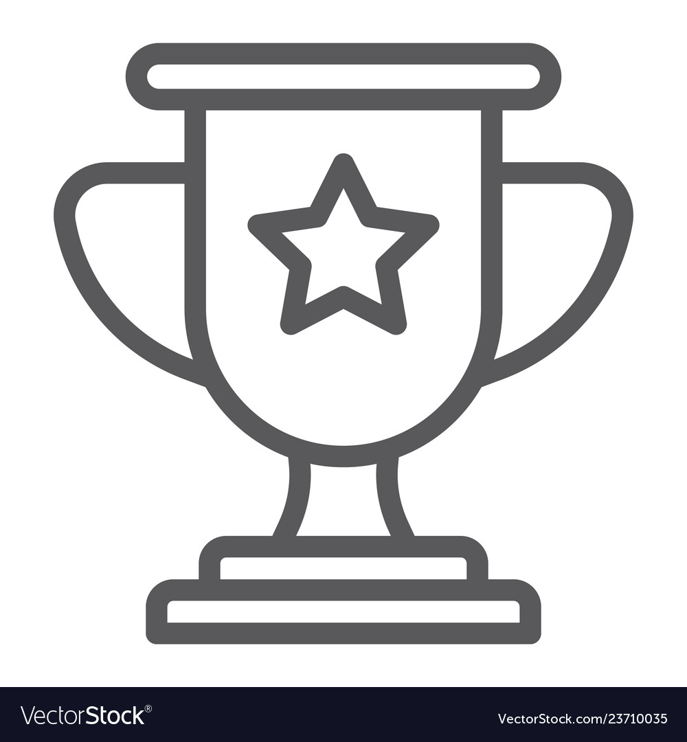 Winner line icon game and award trophy cup sign