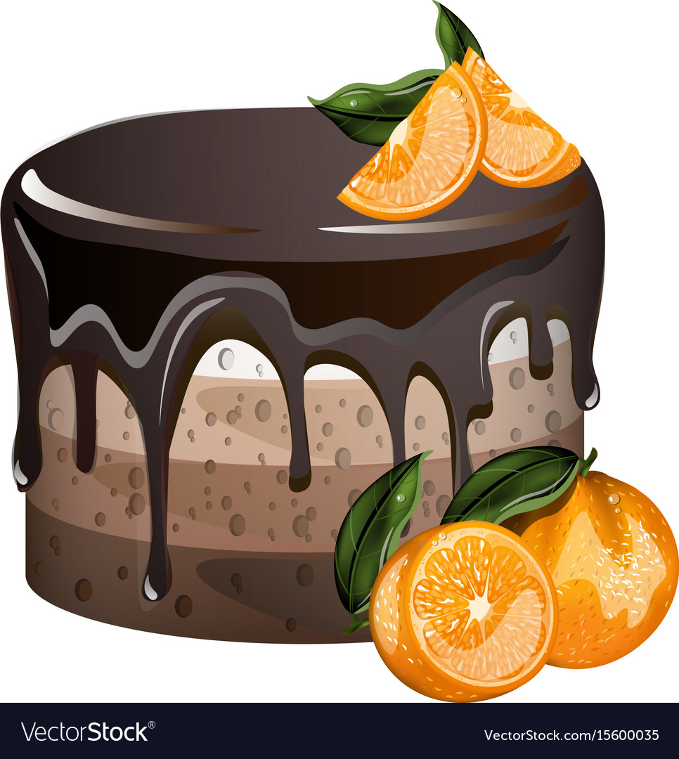 Yummy layered cake with oranges