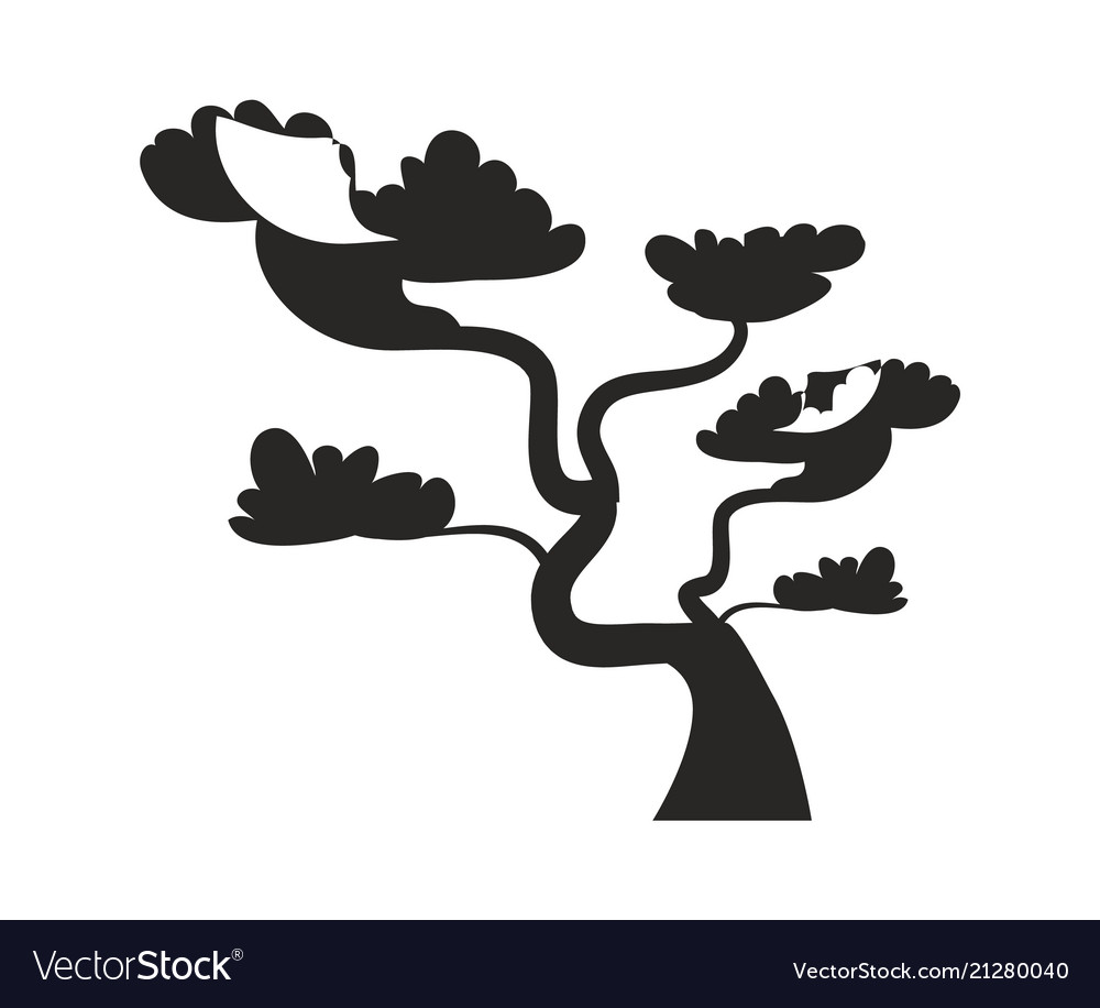 Big bonsai tree with curved trunk black silhouette