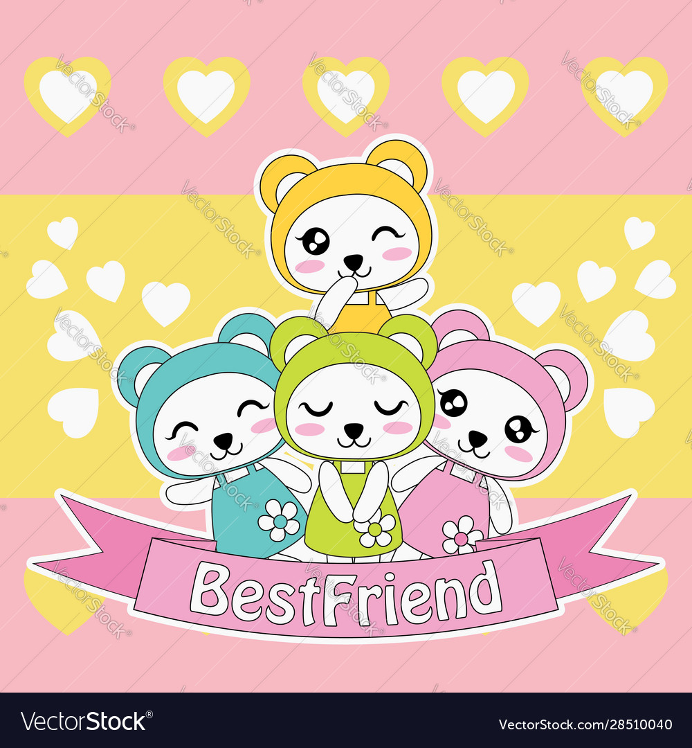 Cartoon With Cute Colorful Panda Girls On Love Vector Image