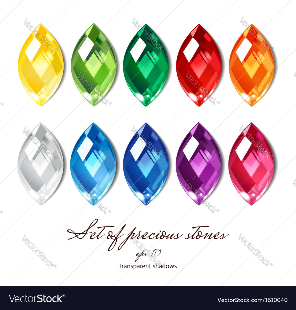 Crystals set of 10 colors vector image