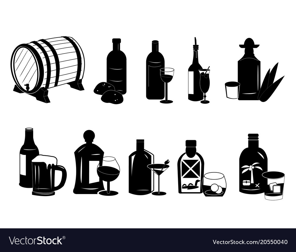 Different types of alcoholic drinks vector image