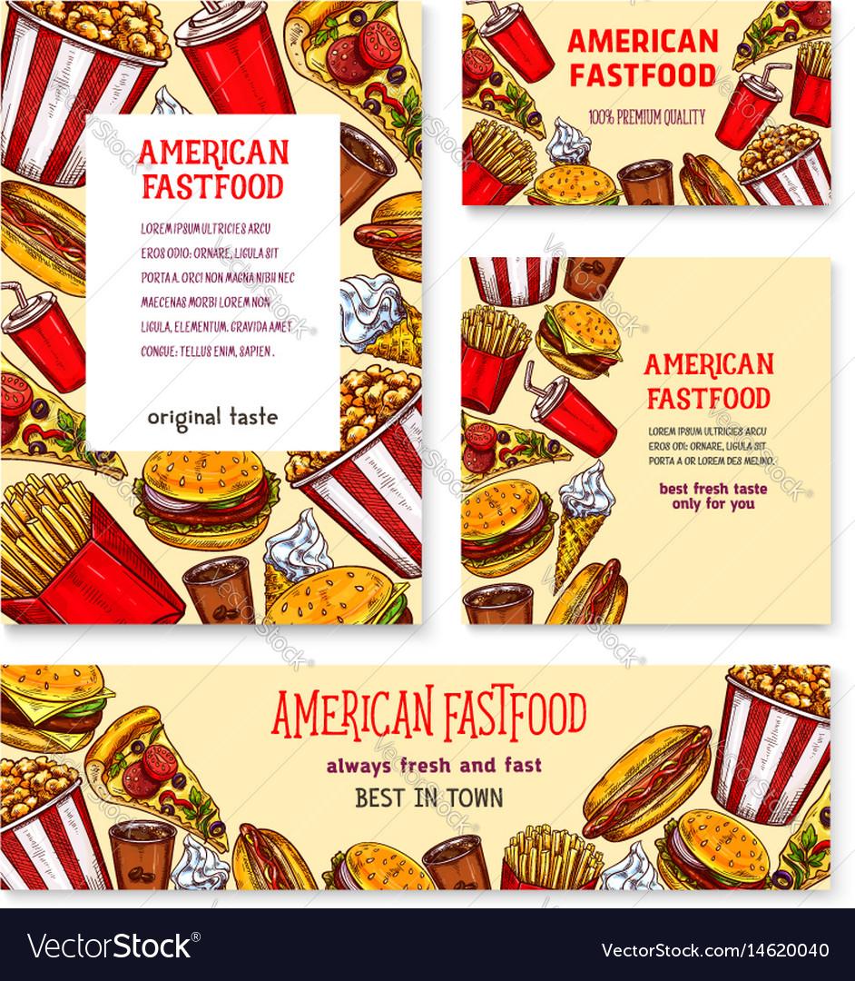 Fast Food American Restaurant Banner Template Set Vector Image