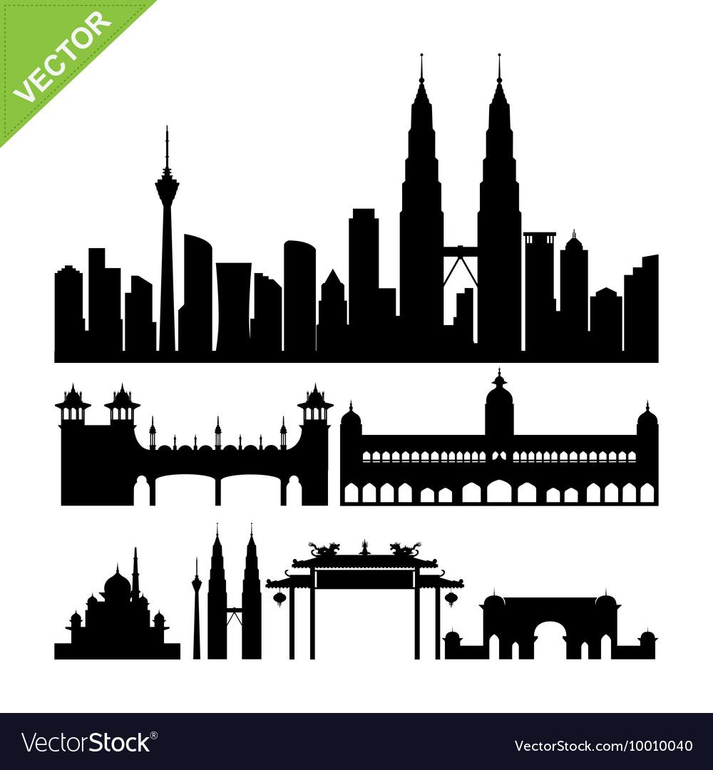 Kuala lumpur Malaysia landmark silhouettes