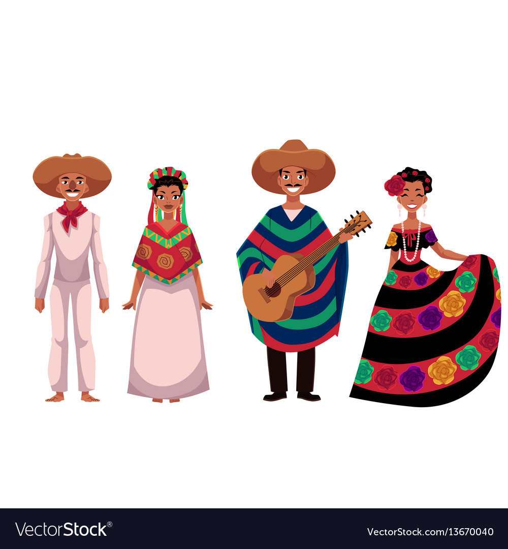 Mexican people men and women in traditional