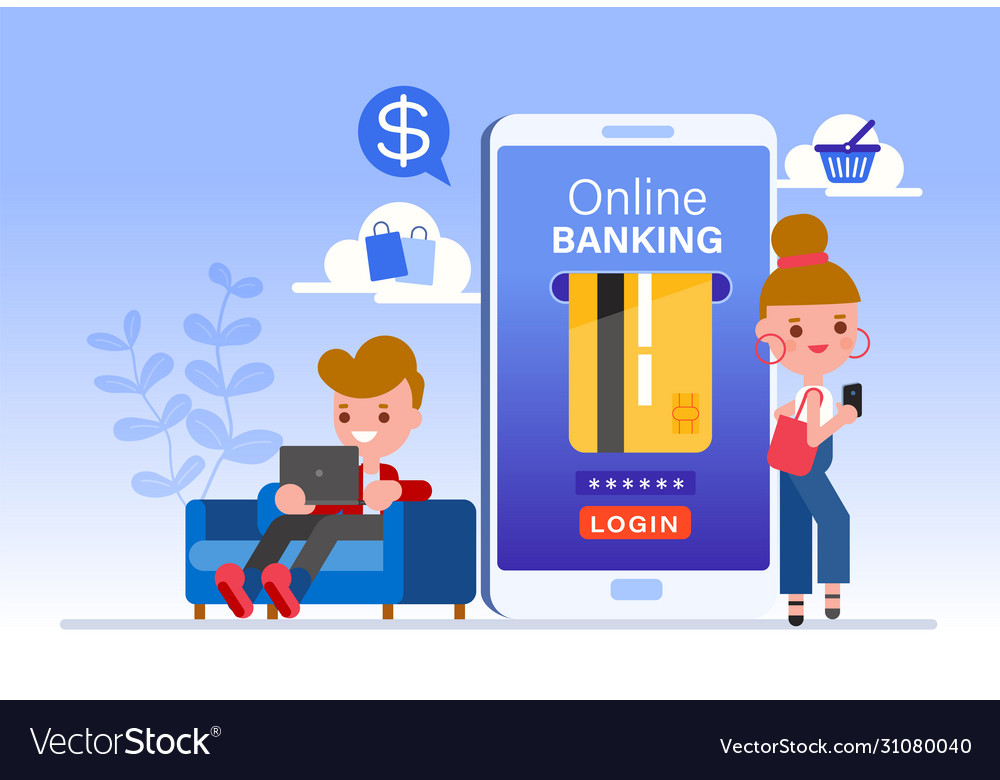 Online banking concept people cartoon character