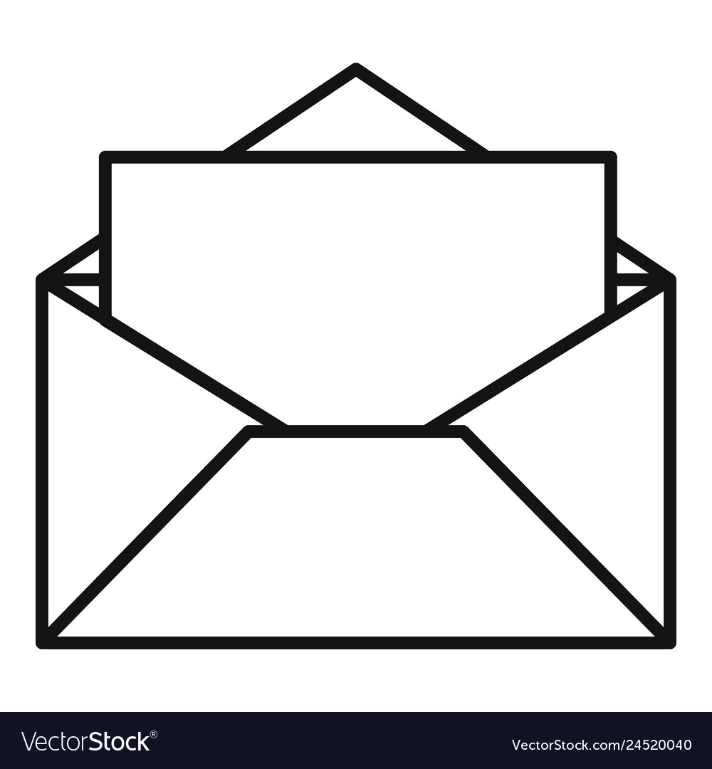 Open envelope icon outline style Royalty Free Vector Image