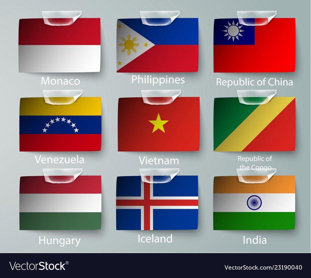 Realistic set of flags of paper of countries with