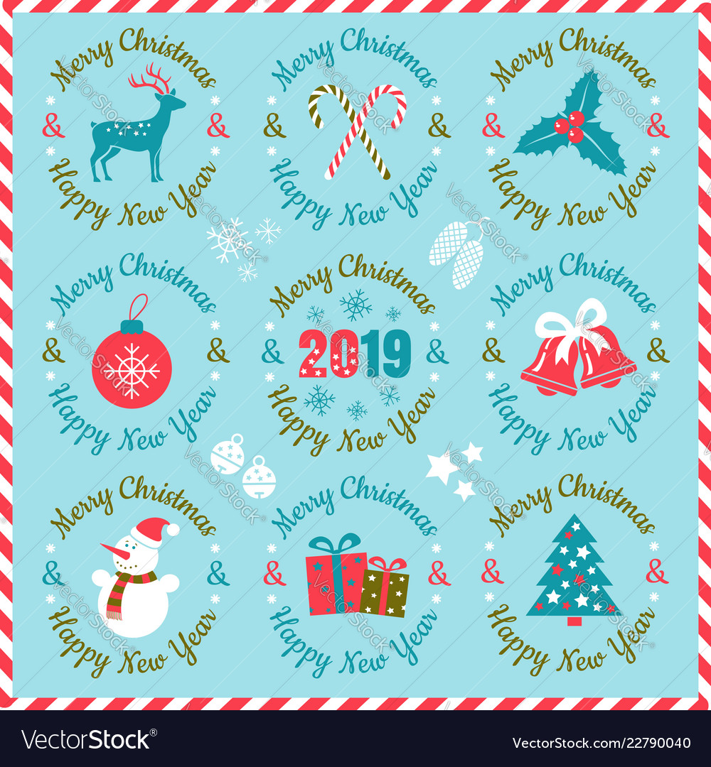 Retro christmas emblems