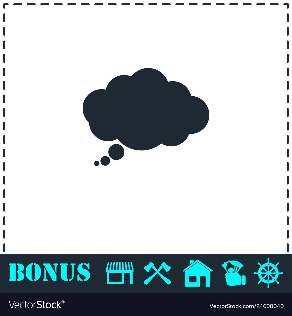 Thought bubble icon flat