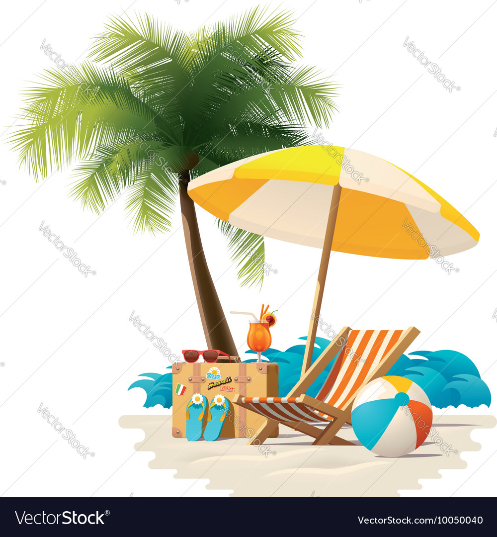 Travel and summer beach vacation relax icon