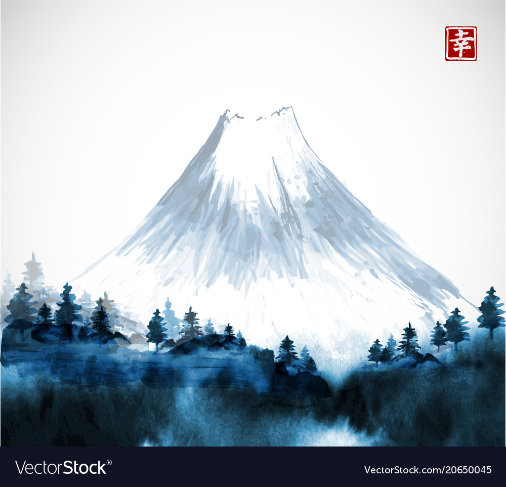 Blue forest trees and fujiyama mountain in fog