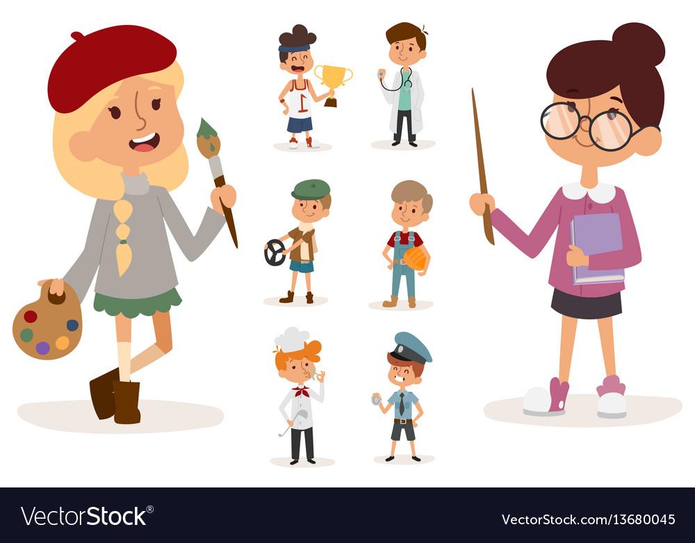 Cartoon profession kids children set