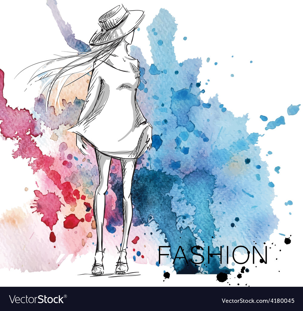 Fashion Sketch On A Watercolor Background Vector Image