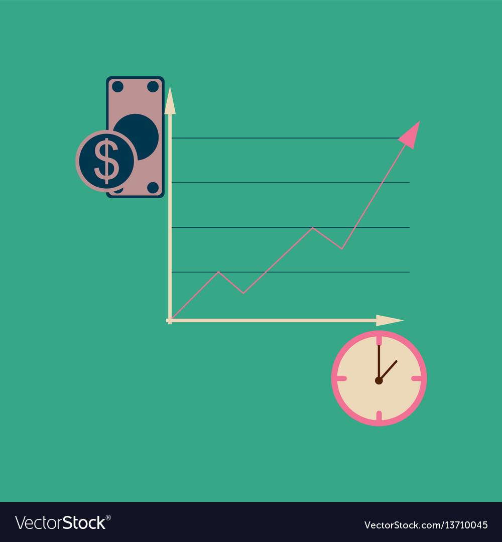 Flat web icon on stylish background time money