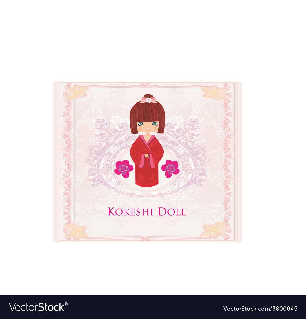 Kokeshi doll on the pink background with floral