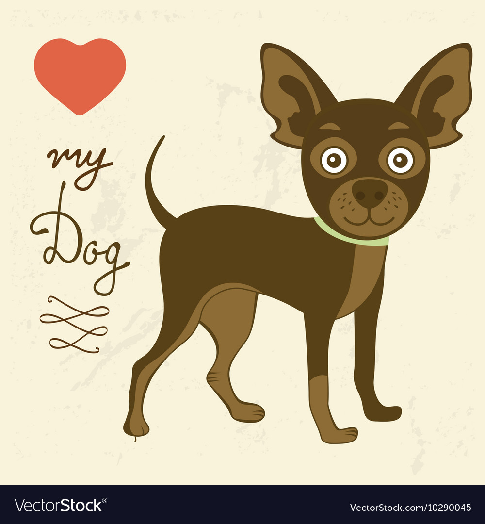 Love my dog toy terrier vector image