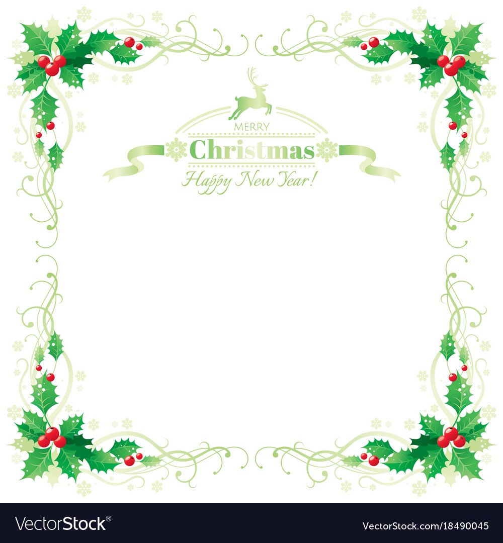 Merry christmas and happy new year border frame Vector Image