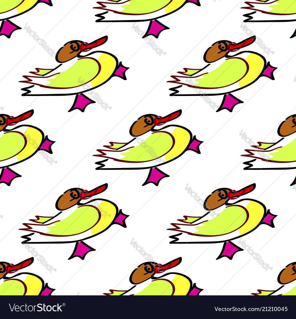 Seamless duck pattern with bright yellow image