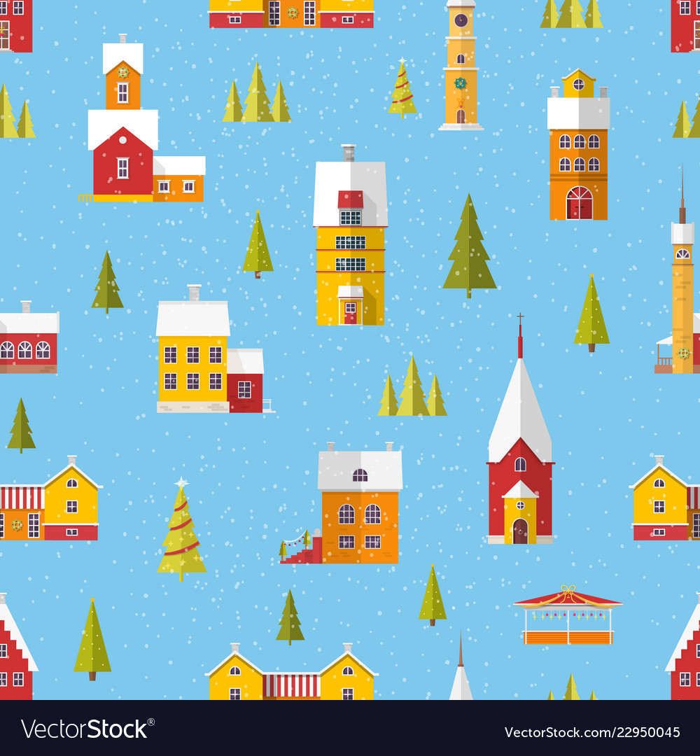 Seamless pattern with cute buildings and trees