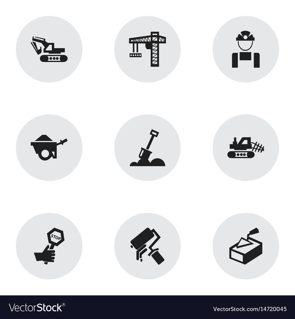 Set of 9 editable construction icons includes