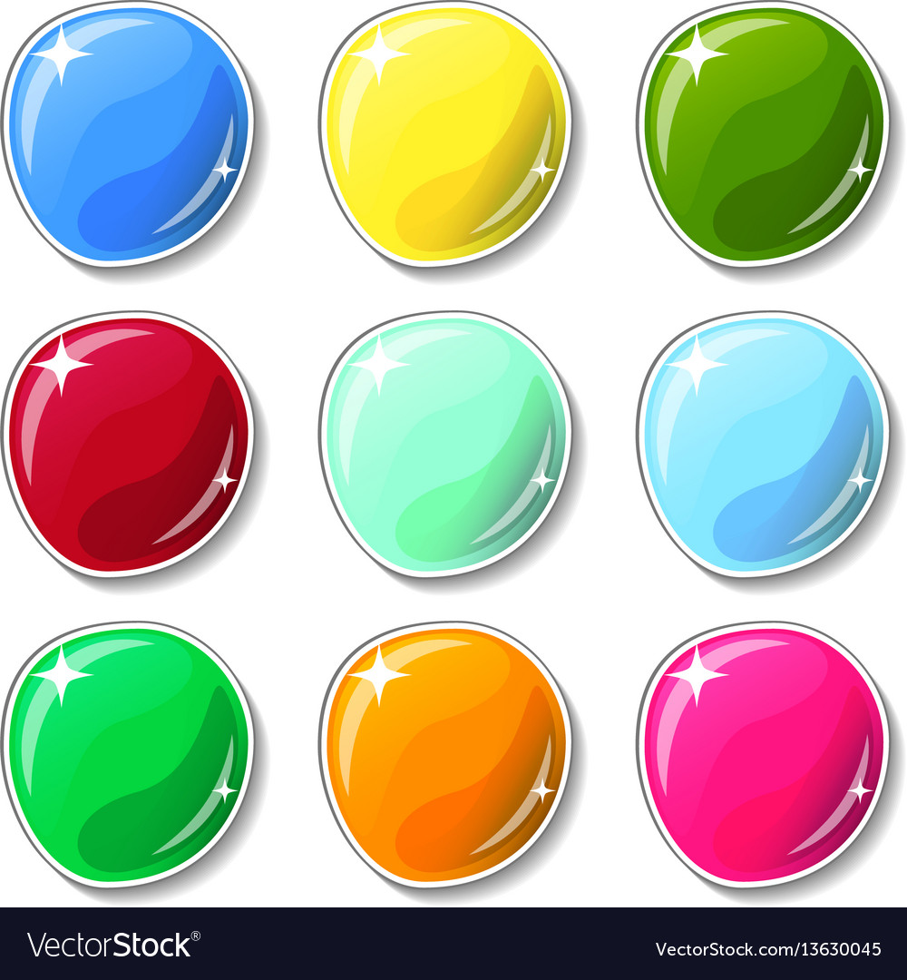 Shiny colorful buttons with glass surface effect