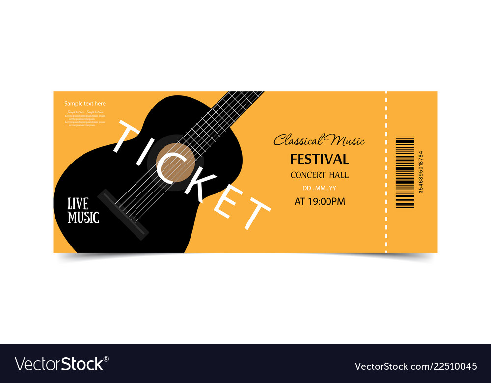 Ticket on festival live music orange ticket with