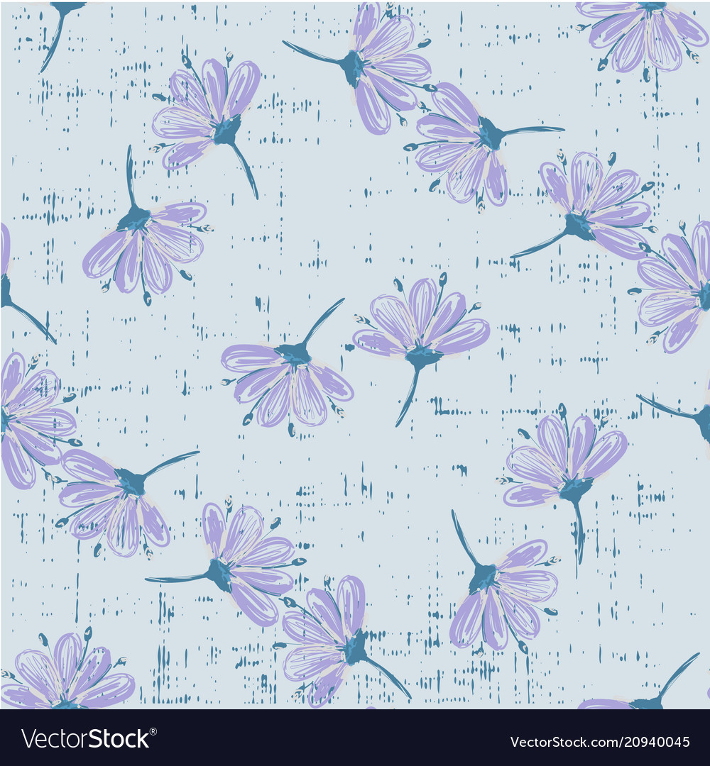 Trendy floral pattern with abstract flowers