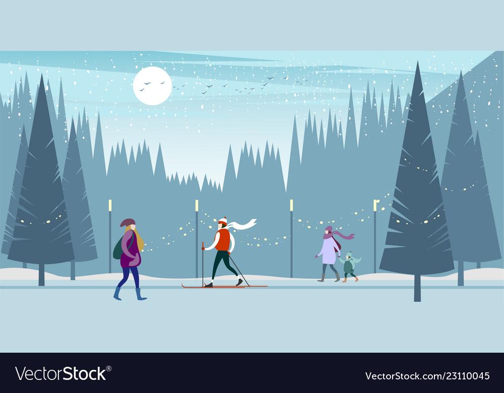 af4ebff097 Winter city people Royalty Free Vector Image - VectorStock