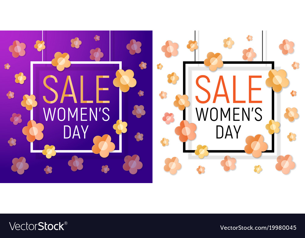 Womens day frame sale march 8 Royalty Free Vector Image