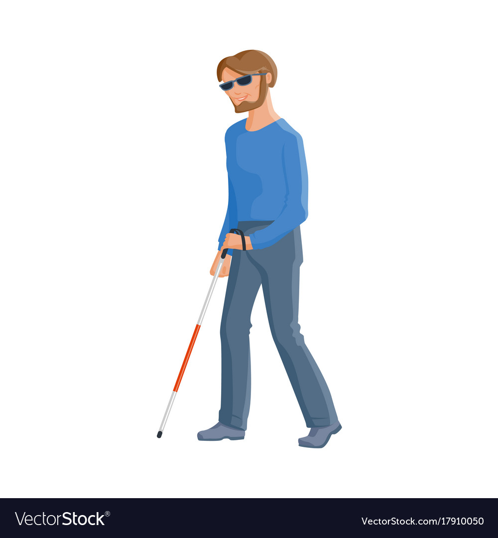 Blind Caucasian In Glasses With A Walking Cane Vector Image