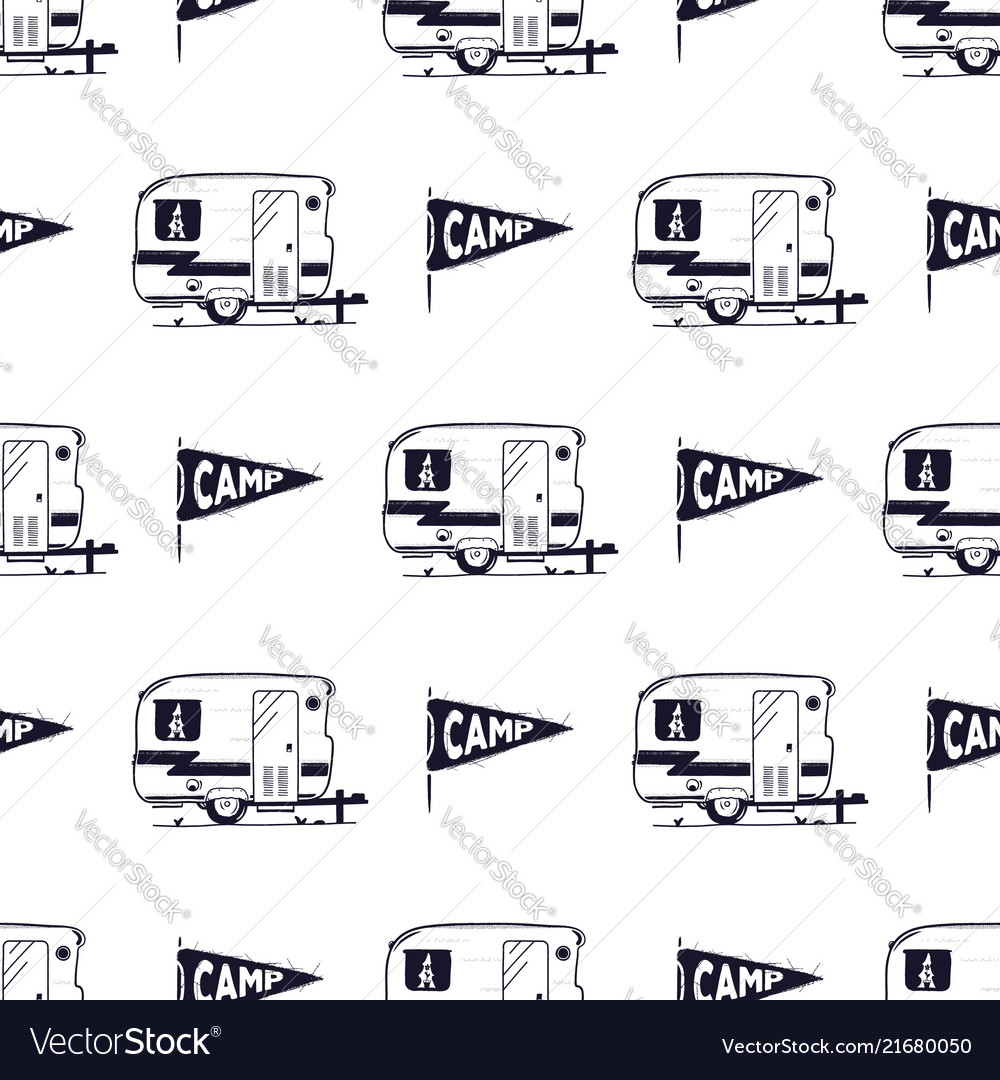 Camping Rv Seamless Pattern With Camp Pennant