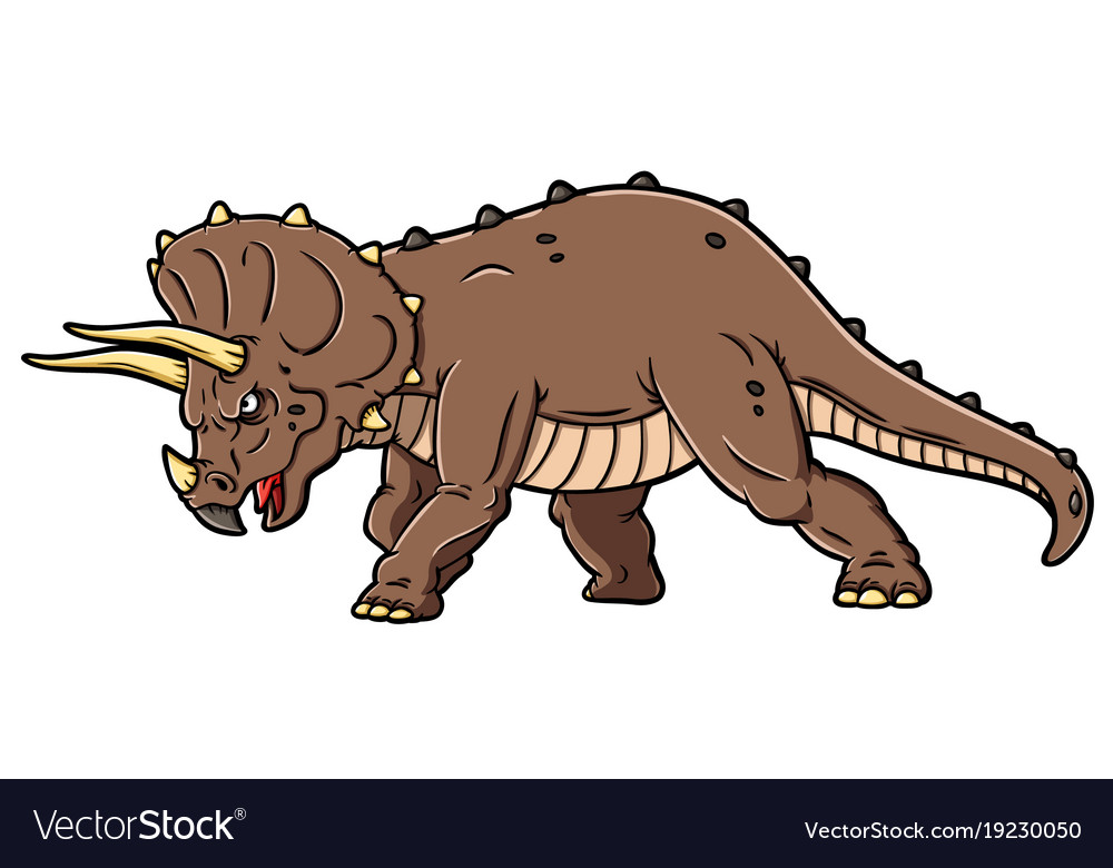 cartoon angry triceratops charging royalty free vector image