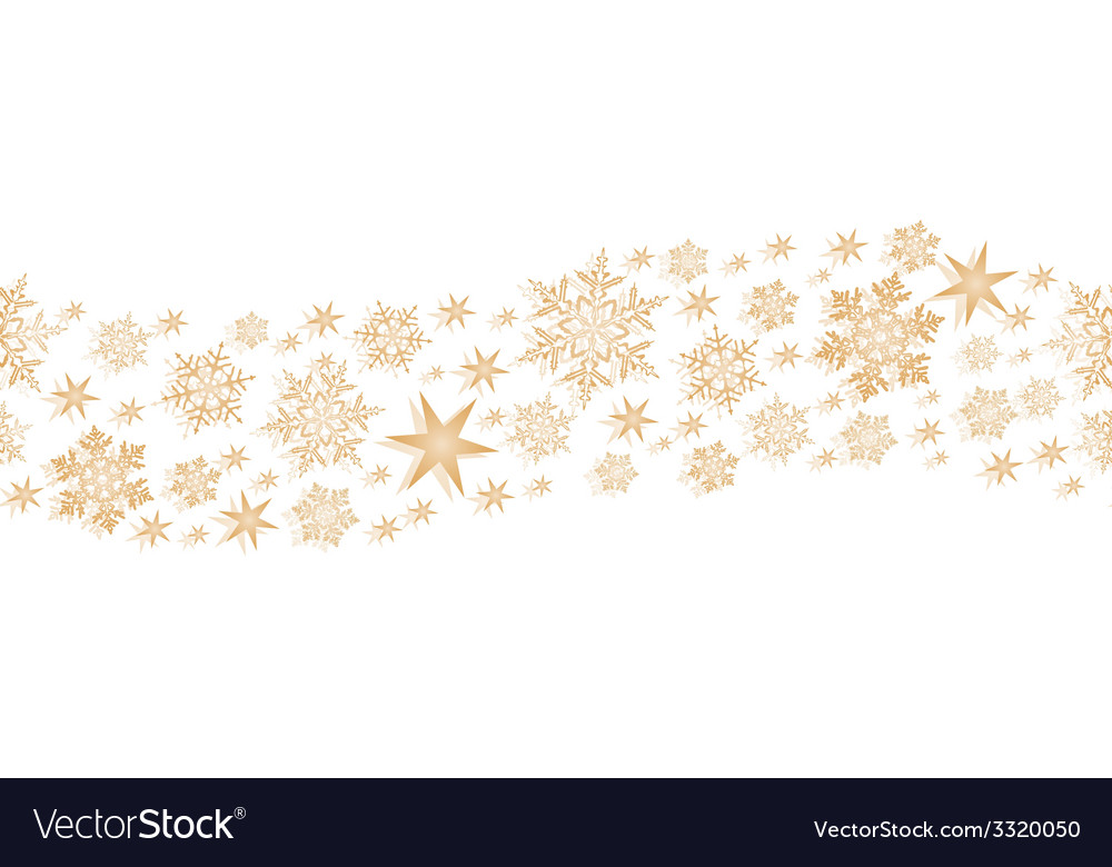 Golden seamless border with stars and vector image
