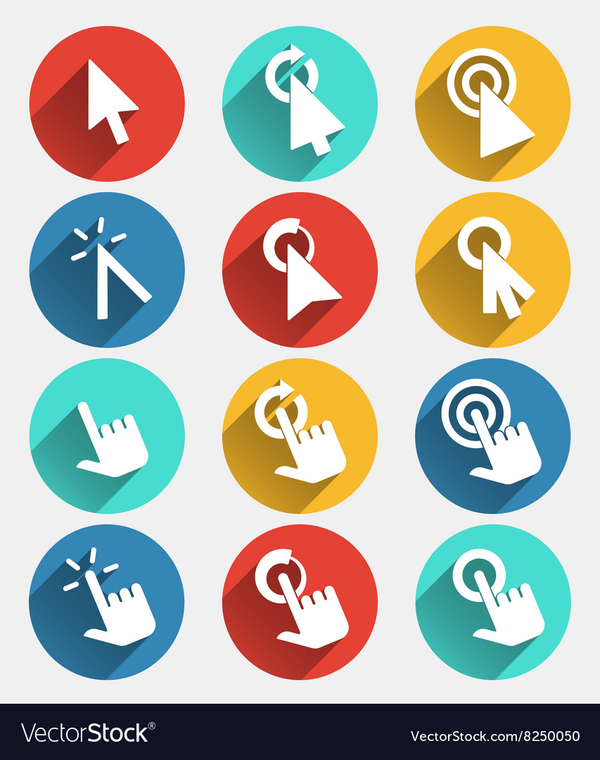 Hand cursor signs arrow pointer symbols and click