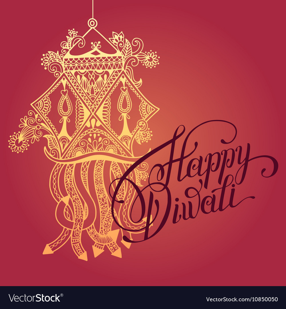 Happy Diwali Greeting Card With Paisley Ornamental