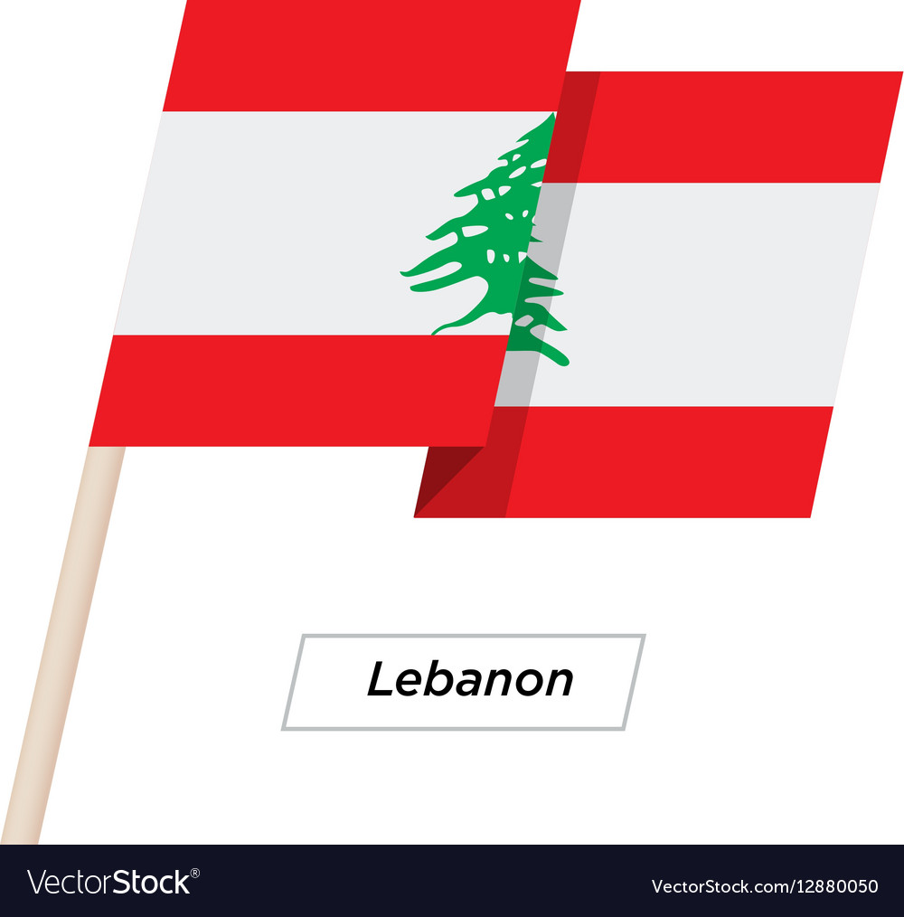 Lebanon Ribbon Waving Flag Isolated on White