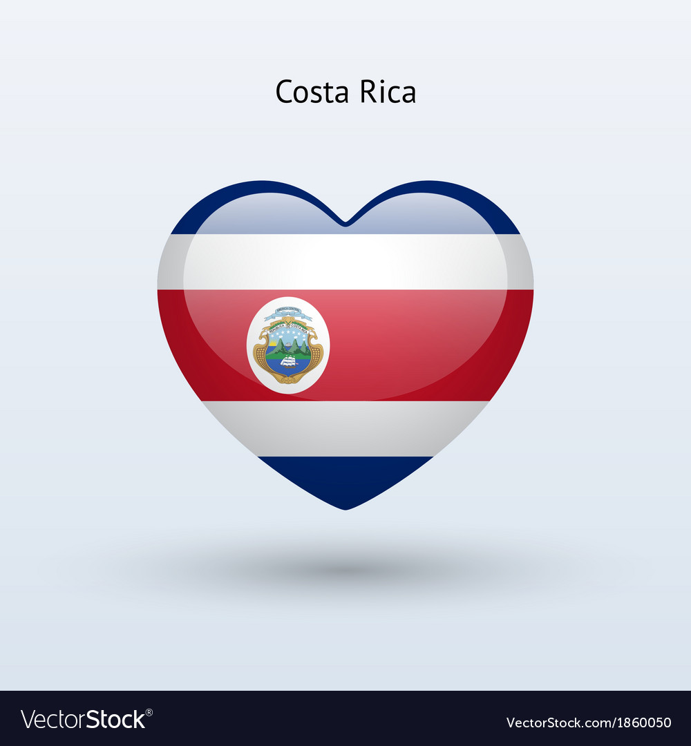 Love Costa Rica Symbol Heart Flag Icon Royalty Free Vector