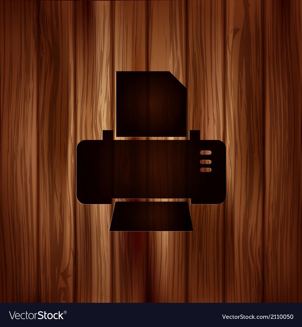 Printer web icon Wooden background