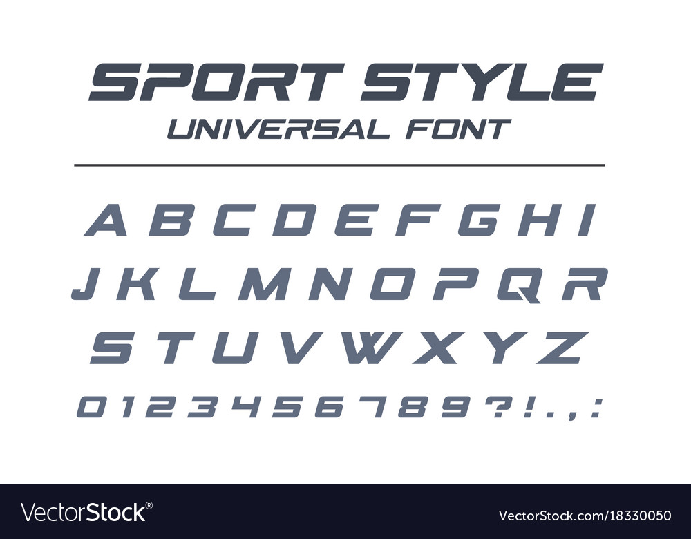 Sport style universal font fast speed futuristic